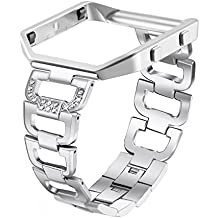 bayite Stainless Steel Bands with Frame for Fitbit Blaze, Rhinestone Bling Replacement Accessory Straps for Women Silver Black Rose Gold