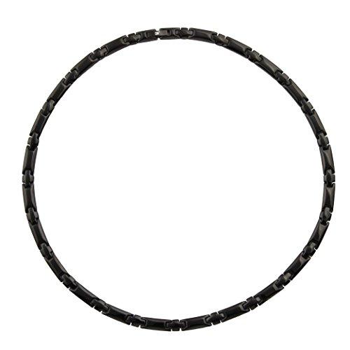 (Magnetic Therapy Necklace Black Mens Germanium Chain 5 Elements Pain Relief Arthritis Headaches (Titanium, 20.6