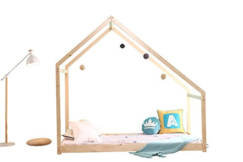 UHOM Bedroom Twin Size Furniture Premium Wood Children Toddler House Bed Frame Tent Bed Floor Bed