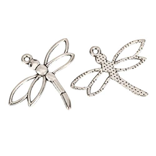 10 x Silver Dragonfly Charms 32x15mm Antique Silver Tone for Bracelets Necklace Earrings MCZ136 ()