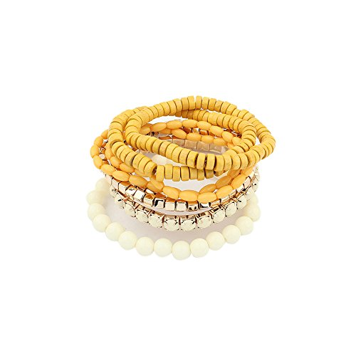 (LUREME Bohemian Beads Cube Multi Strand Stretch Stackable Bangle Bracelet Set-Yellow (bl003172-5))
