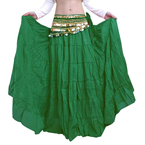 XIYAO Jupe de Danse du Ventre Femmes Robe de Danse Nationale Dames Longue Swing Jupe vert