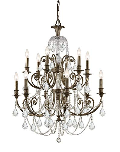 - Crystorama Clear Swarovski Spectra Crystal Wrought Iron Chandelier 5119-EB-CL-SAQ