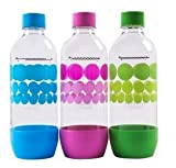 Sodastream Bottles Original Three Pack ( blue, pink, green ) 1 Liter / 3.38oz launched in 2017