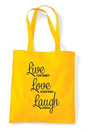 Live Shopper Statement Bag Words Laugh Love Beyond Tote Yellow 7x71r4