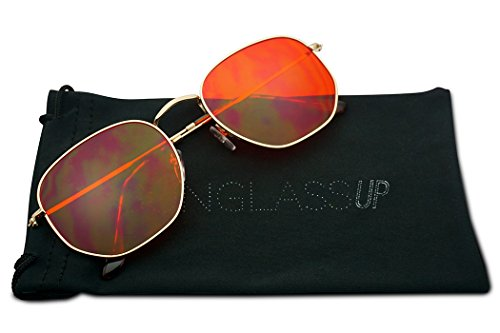 Round Geometric Pantone Colored Tinted Flat Lens Ultra Slim Metal Hexagonal Sun Glasses (Gold, - Translucent Sunglasses Is Or Transparent