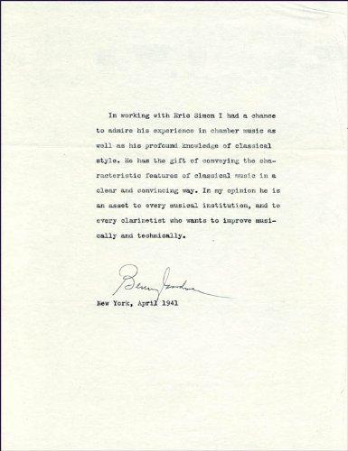 benny goodman autograph - 2