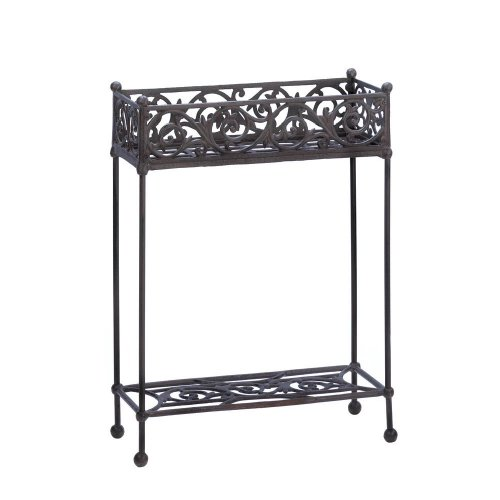 Cast Iron Rectangle Slender Two Tier Plant Stand Shelf by Tom & Co.