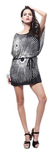 Honeystore Women's Beach Cover Up, Summer Boho Paisley Print Bikini Dresses Black