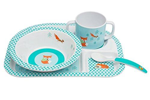 Lässig Dish Set 4-teiliges Kindergeschirrset mit Schale, aufgeteiltem Teller, Tasse und Besteck aus 100% Melamin, Little Tree Fox