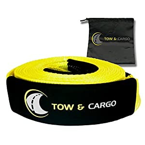 Tow Strap, Recovery Strap | Tow Rope, Winch Strap, ATV UTV Truck | Heavy Duty With Loops 20 ft 30000 lb | Use for Off Road Towing Strap, Snatch Strap Block