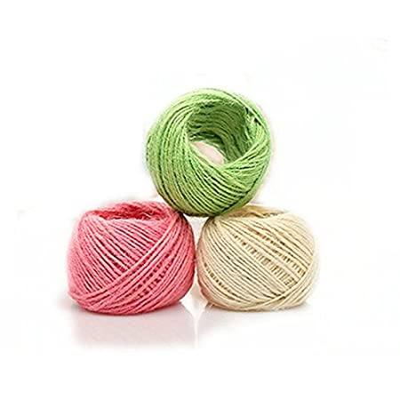 Jun 2 mm Multicolor Yute Twine Hemp Cord String for Gift Packing, Bohemia macramé cuerda de cable de tejer para hacer DIY Planta de colgar en la pared percha, 100m/color, 1 colors JUN Store