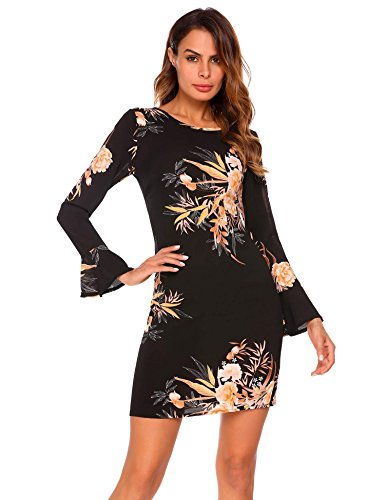 Tan Gold Flare (ELESOL Women's Flower Print Round Neck Flare Sleeves Mini Dress Pattern1 L)