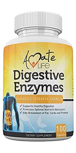 Digestive Enzymes for Digestion, Gut Health and Bloating Relief Quadruple Strength - Pancreatin Active Ingredient for Digestion of Fats, Carbs, Protein 100 Capsules Non GMO by Amate Life