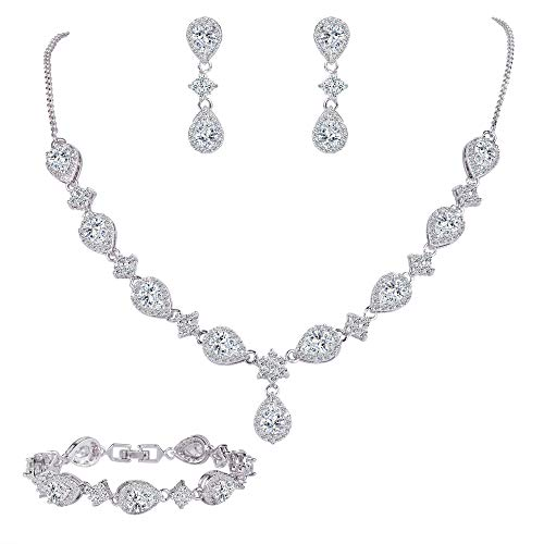 EleQueen Women's Silver-Tone Cubic Zirconia Teardrop Flower Bridal V-Necklace Set Tennis Bracelet Dangle Earrings -