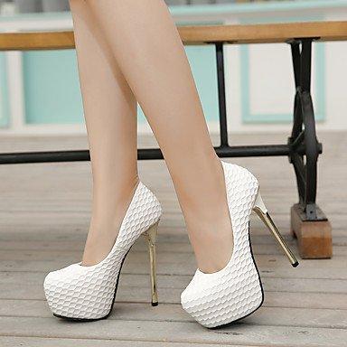 LvYuan-ggx Femme Chaussures à Talons A Bride Arrière Polyuréthane Printemps Décontracté A Bride Arrière Blanc Noir 7,5 à 9,5 cm white