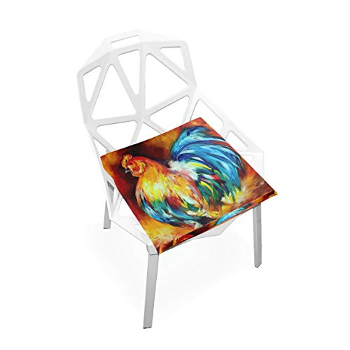 (TSWEETHOME Comfort Memory Foam Square Chair Cushion Seat Cushion with Rooster Oil Painting Chair Pads for Floors Dining Office Chairs)