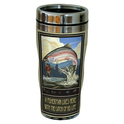 Tree-Free Greetings sg23184 Vintage Rainbow Trout Fisherman Fishing Trophy by Paul A. Lanquist Stainless Steel Sip 'N Go Travel Tumbler, 16-Ounce