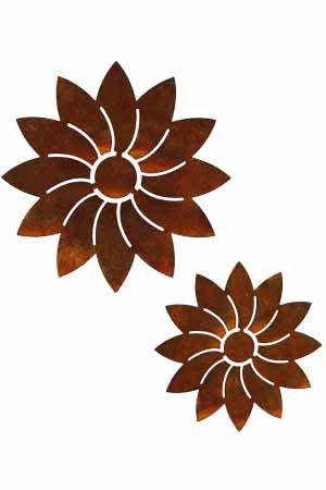 Rost Blume Modern Hänger 2er Set Deko Dekoration Edelrost Garten Metall  Eisen