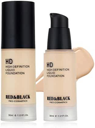 Red&Black HD Liquid Foundation , Covers Uneven Skin Tone Face Makeup Foundation ,Smooth Moisturizing ,1.01Fl Oz , Porcelain