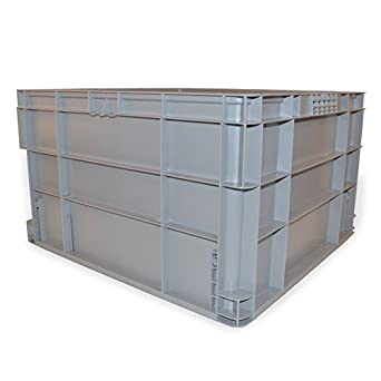 SSI SCHAEFER AF242214.XAGY1 Straight Wall Container, Polyethylene, Grey,  Capacity 44 Lb