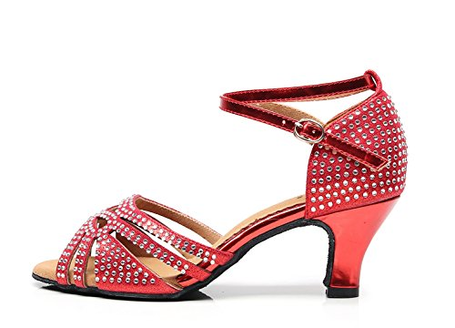 Latin Strap Sandals Wedding Dance UK Ladies Crystals 5 Ankle Heel Stylish 2 Shoes Low MINITOO Red wB0gtaqT