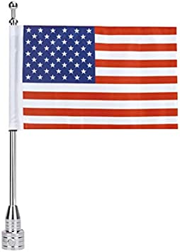 buyinhouse Rear Motorcycle Flag Pole Mount 6 x 9 Flag American USA Fit for 1//2 Round Luggage Rack,for Honda Goldwing CB VTX CBR Yamaha Harley Davidson