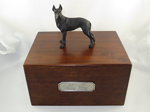 Beautiful Paulownia Large Wooden Urn with Black Great Dane Figurine & Personalized Pewter - Urn Dane Great