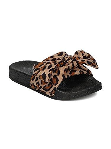 (Alrisco Girls Satin Open Toe Bow Tie Footbed Slide HC39 - Leopard Faux Suede (Size: Little Kid 2))