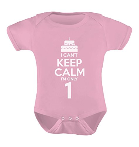 TeeStars - Birthday Cake - I Can't Keep Calm I'm one Cute Baby Bodysuit 12M Pink