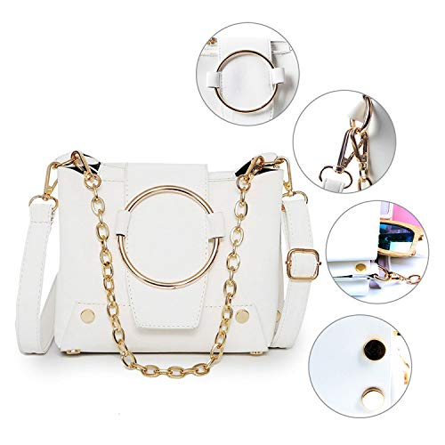 Bucket Removable With Stylish Chain Cross Leather Bag Body Girls PU Bag White Strap 0v4UwS