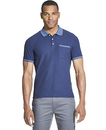 (Van Heusen Men's Slim Fit Never Tuck Short Sleeve Solid Polo Shirt, Barge, Medium)