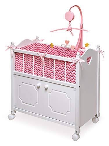 - Badger Basket Cabinet Doll Crib with Chevron Bedding, Musical Mobile, Wheels, and Free Personalization Kit (fits American Girl Dolls)