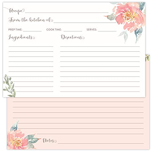 Koko Paper Co Pack of 50 4x6 Recipe Cards with with Light Pink Florals. Perfect for Bridal Showers, Fits in Standard 4x6 Recipe Card Box Holders. (Recipe Floral Cards)