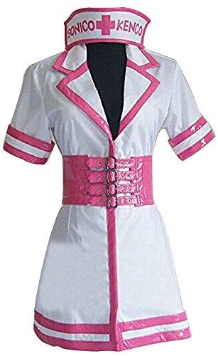 HOLRAN Anime Super Sonico Nurse Uniform cosplay costume dress (Female:Small)