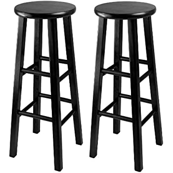 winsome 29inch square leg bar stool black set of 2