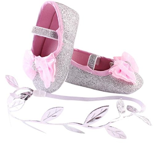 DZT1968® Baby Girl Soft Sole Bowknot Bling Prewalker Shoes With Leaf Headband (6~12 Months, Silver)