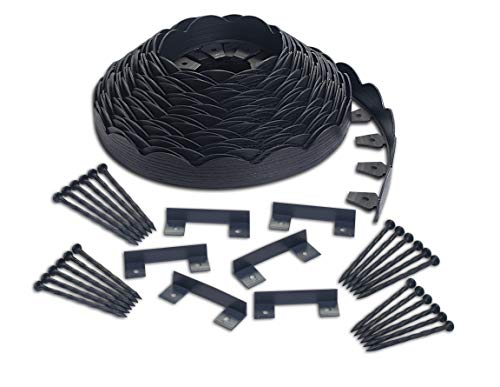EasyFlex 3210E-100C Scallop No-Dig Landscape Edging, 100' Black (Small Scallops)