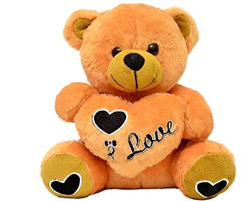 SANA Premium Quality Soft Lovely Heart Teddy Bear for Valentine Day Gift  40cm  Brown, 28 cm