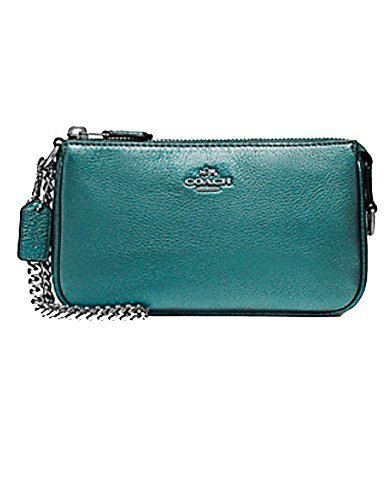LARGE WRISTLET 19 IN METALLIC PEBBLE LEATHER (COACH F20151) METALLIC DARK ()