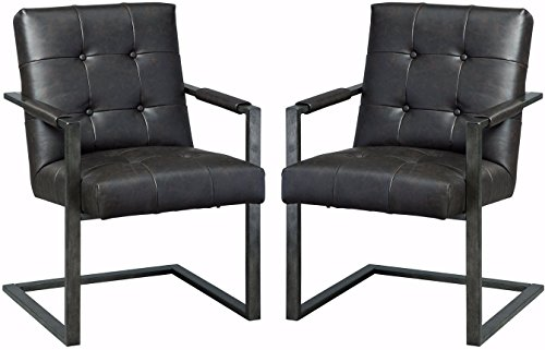 - Ashley Furniture Signature Design - Starmore Home Office Desk Chair - Contemporary - Tufted Black Faux Leather