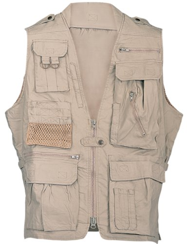 HUMVEE HMV-VS-K-M Medium Cotton Safari Vest with Extra Pockets, Khaki (Jacket 2 Safari)