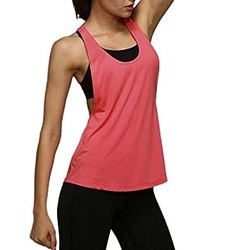 SGYHPL Verano Deporte Mujer Tops Seco Quick Yoga Gimnasio ...