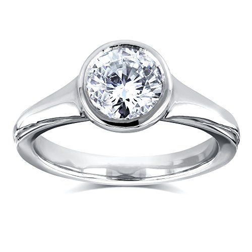 Round Solitaire Bezel 1 Carat Diamond Ring in 14k White Gold - Size 8.5