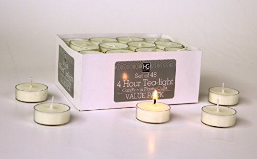 Hosleys Set of 48 Tea Lights. Hand Poured. Long Lasting. Using a High Quality Wax Blend. Ideal for Weddings, Spa, Aromatherapy, Special Events and Everyday Use