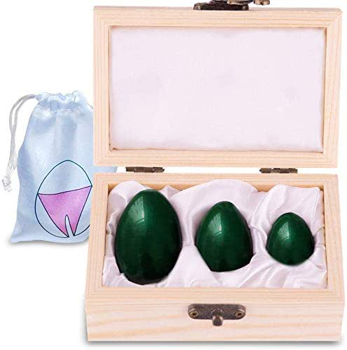 Genuine Nephrite Jade Yoni Eggs – Gift Box of 3 Yoni Egg, Predrilled Yoni Kegel Eggs to Gain Better Bladder Control & for Pelvic Control Exercises– Recommended Kegel Eggs for Women