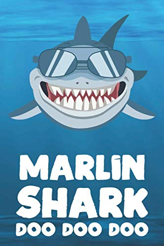 Marlin - Shark Doo Doo Doo: Blank Ruled Name Personalized & Customized Shark Notebook Journal for Boys & Men. Funny Sharks Desk Accessories Item for ... Supplies, Birthday & Christmas Gift for Men.