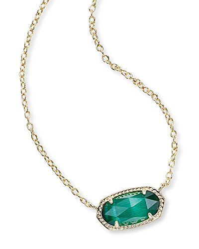 Pendant May Green Birthstone (Kendra Scott Women's Elisa Birthstone Necklace May/Gold/Emerald Cat'S Eye Necklace)
