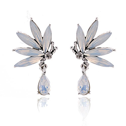 2018 New Arrival Acrylic Butterfly Stud Earrings Metal Alloy Rhinestone Stud Earrings,opal white