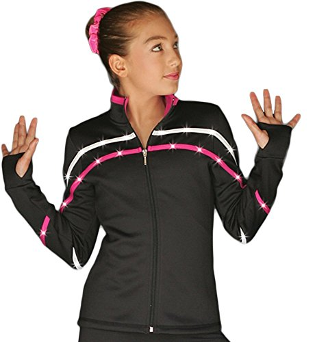 ChloeNoel J618F 2-Tone Piping Light Weight Fleece Figure Skating Jacket with Matching Swarovski Crystals (Fuchsia) (Size - Crystal Tone Fuchsia